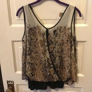 Black and Tan Blouse with camisole